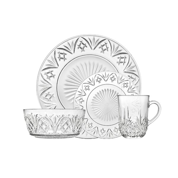 Dublin Glass 16 Piece Dinnerware Set, Service for 4 by Godinger Silver Art Co