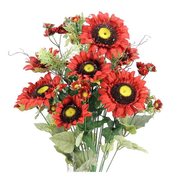 24 Stem Artificial Sunflower Cosmo Mini Berries Flower Bush by Admired by Nature