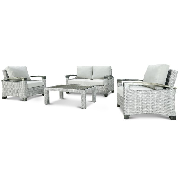 Dorrington 4 Piece Rattan Sofa Seating Group with Cushions by Rosecliff Heights