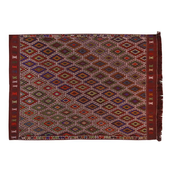 Kilim Obruk Hand-Woven Red Area Rug by La Viola Décor