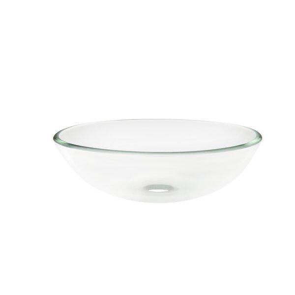 Glass Circular Vessel Bathroom Sink by Topia