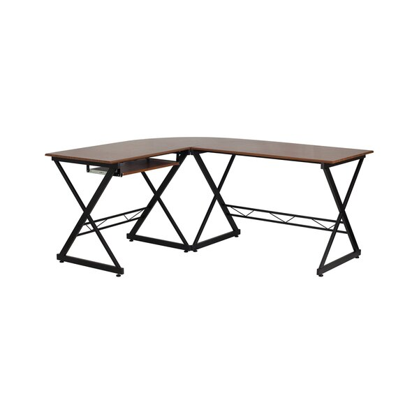Caldwell Teakwood Laminate L-Shape Writing Desk with Pull-out Keyboard Tray by Ivy Bronx