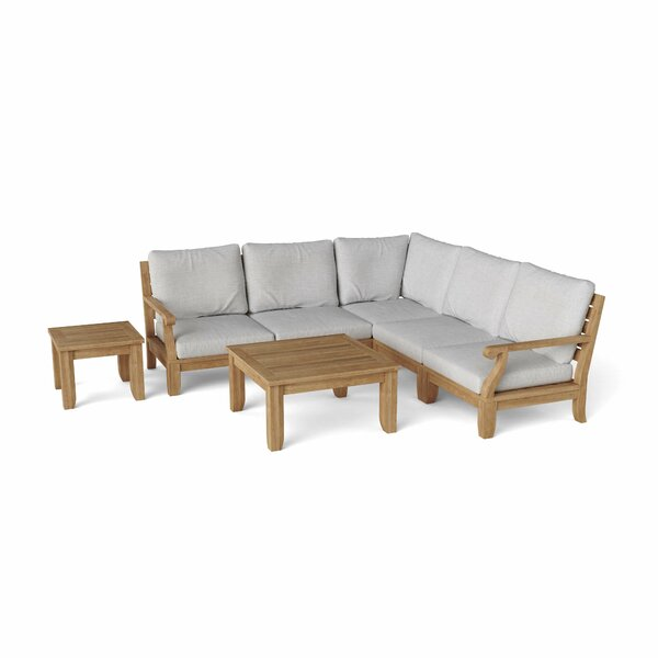 Gatsby Luxe 7 Piece Teak Sectional Seating Group by Rosecliff Heights