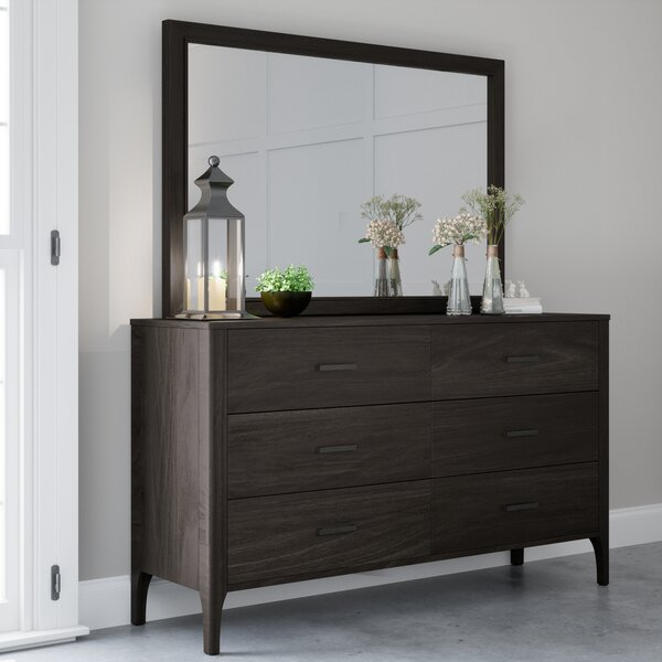 Mifley Wood 6 Drawer Dresser with Mirror by Wrought Studio