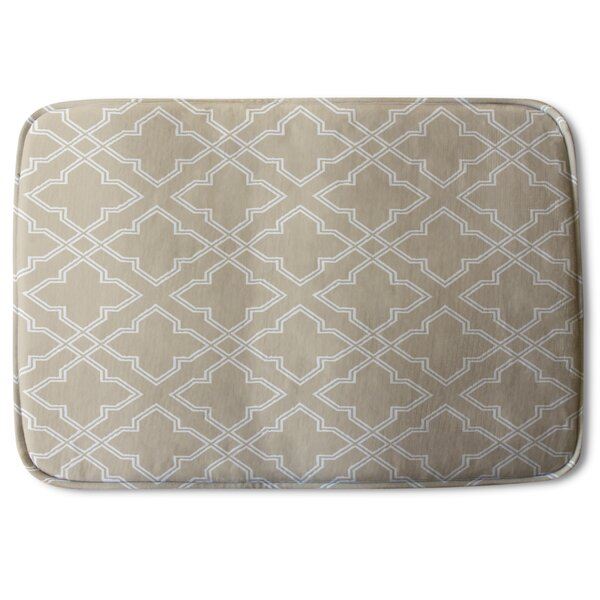 Serita Cross Ornament Pattern Designer Rectangle Non-Slip Geometric Bath Rug