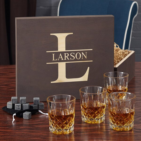 Oakmont Whiskey Lovers 12 oz. Crystal Gift Set with Personalized Wood Box by Home Wet Bar