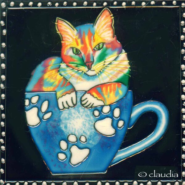 Coffee Cat Tile Wall Decor by Continental Art Center