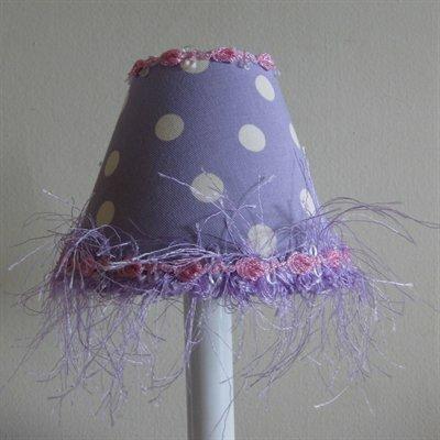 4 H Fabric Empire Candelabra Shade ( Clip On ) in Purple/White