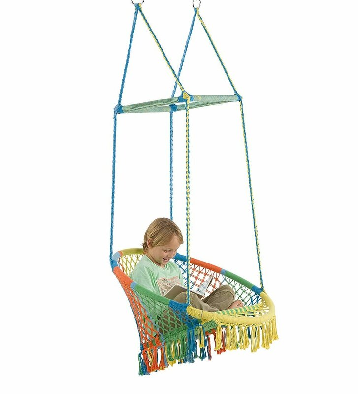 Gokey Hammock Chair With Woven Seat And Macrame Knots