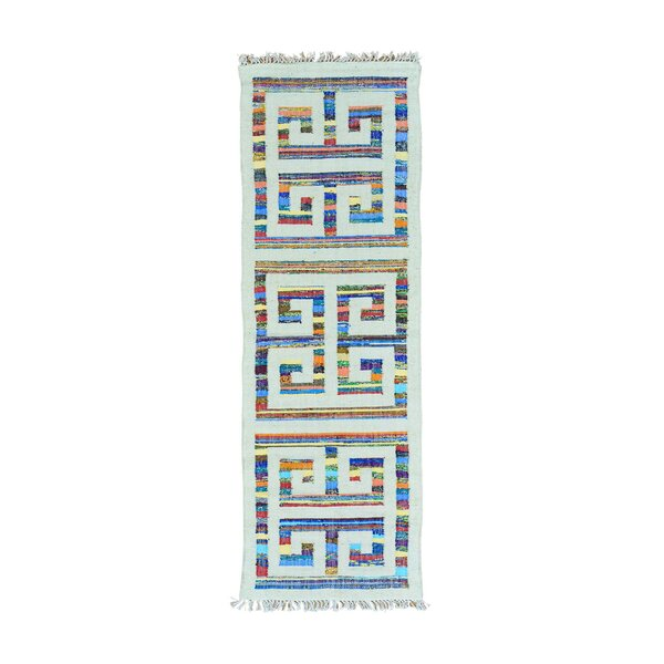 One-Of-A-Kind Flat Weave Kilim Hand-Knotted Ivory/blue Area Rug By Bungalow Rose.