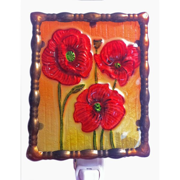 Glass Poppy Night Light by Continental Art Center