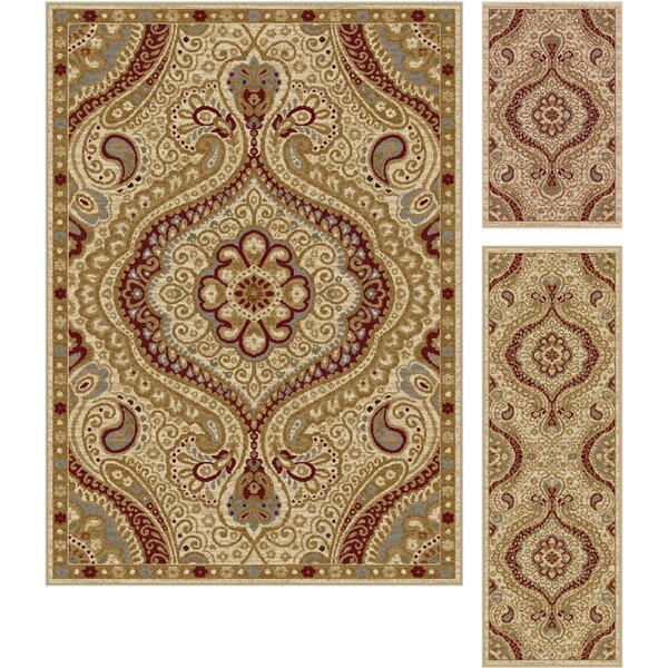 Danville 3 Piece Ivory Area Rug Set by Threadbind