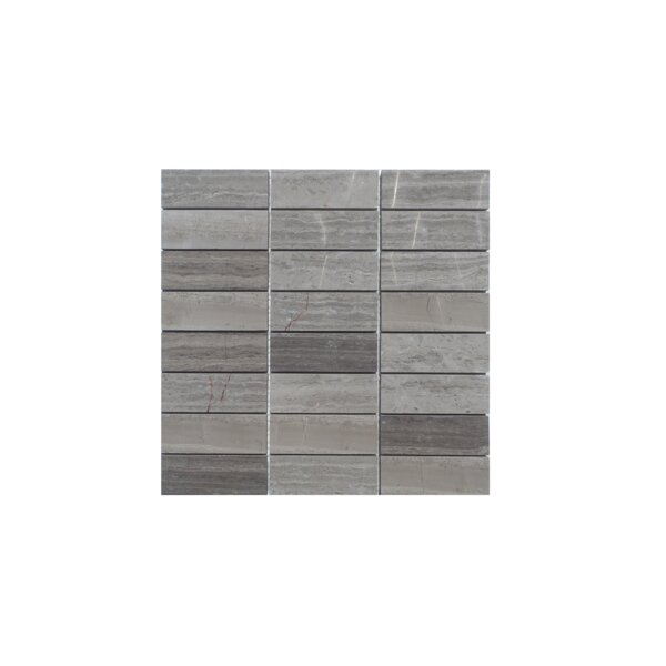 Stacked Honed Natural Stone Mosaic Tile in Wood Ash by Mulia Tile