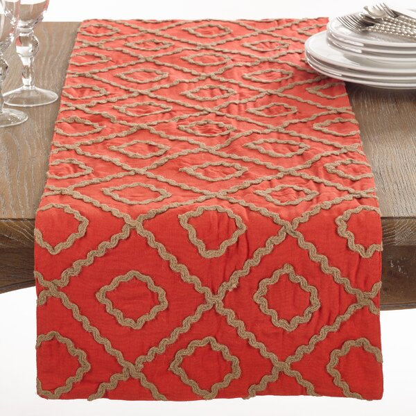 La Rochelle Jute Embroidered Table Runner by Saro