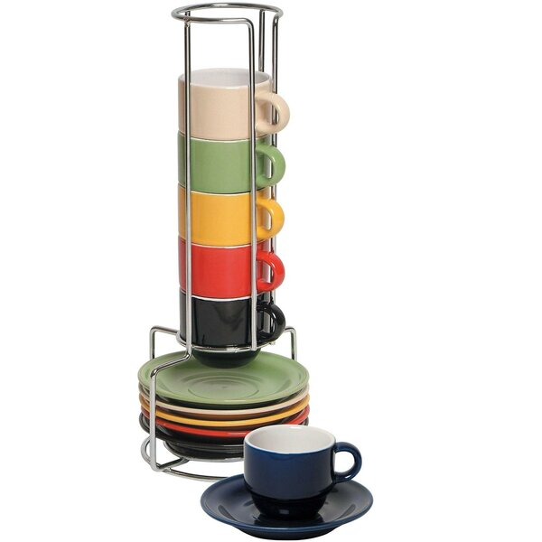 6 Piece Colorful Stacking Espresso Cup And Saucer Set By Imperial Home.