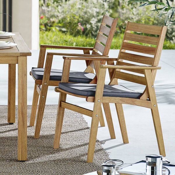Gowins Patio Dining Chair with Cushion (Set of 2) by Highland Dunes
