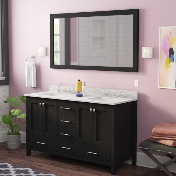Gothenburg 60 Double Bathroom Vanity Set with White Marble Top and Mirror by Greyleigh