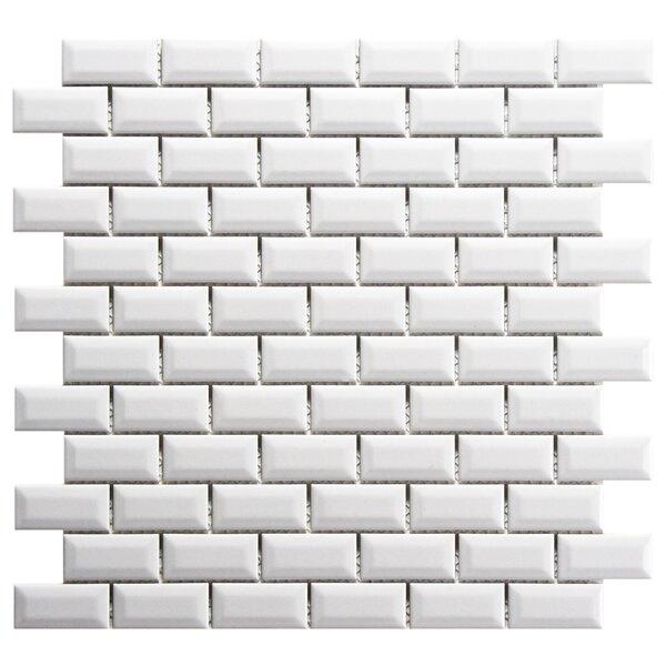 Retro Subway 0.88 x 1.88 Porcelain Mosaic Tile in Glossy White by EliteTile