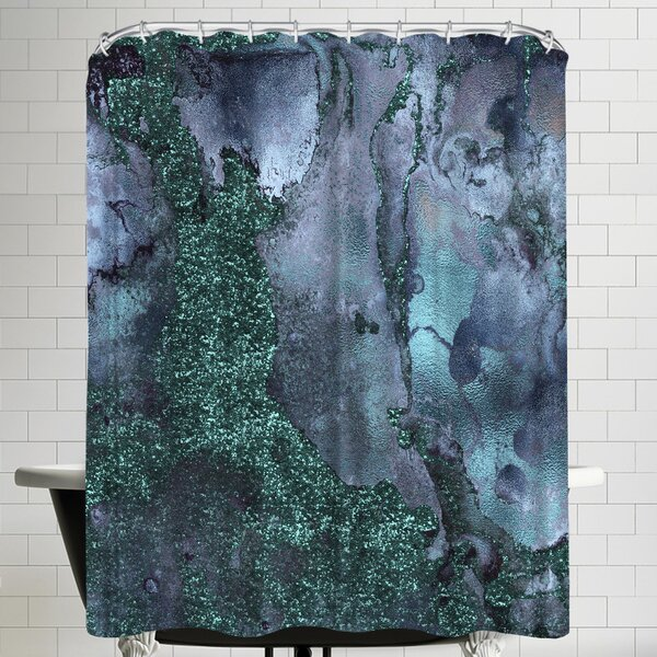 Grab My Art Abstract Malachite Gemstone Blue And Green Marble Shower Curtain by East Urban Home