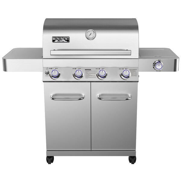 4-Burner Propane Gas Grill with Side Burner and Ro