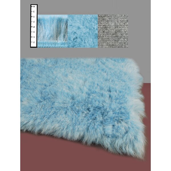 Benes Hand-Tufted Faux Fur Blue Area Rug by Ebern Designs