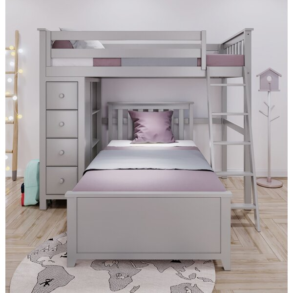 Ghent Twin Over Twin L-Shaped Bunk Bed with Drawers and Bookcase by Harriet Bee