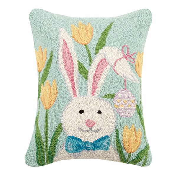 Gantt Bunny with Tulips Wool Throw Pillow by August Grove