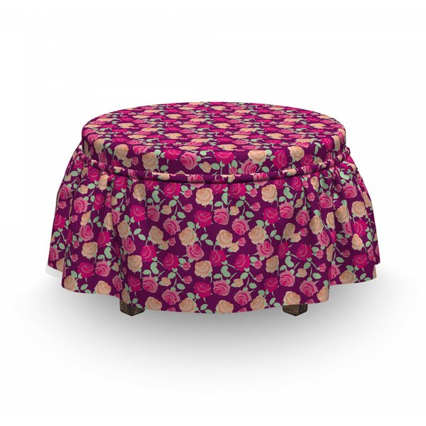Blossoming Romantic Flowers Ottoman Slipcover (Set Of 2) By East Urban Home