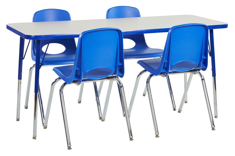 ecr4kids 5 piece 60 x 24 rectangular classroom table and 18 chair set wayfair. Black Bedroom Furniture Sets. Home Design Ideas