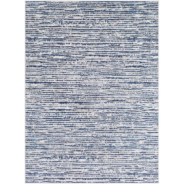 Hence Modern Striped Wool Beige/Navy Area Rug by Williston Forge