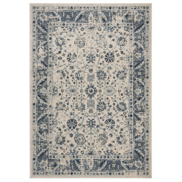 Jase Ivory/Blue Area Rug by Charlton Home