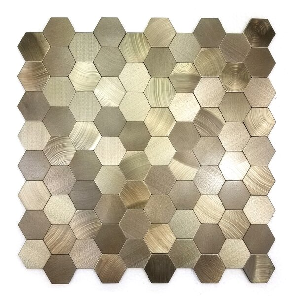 Enchanting 1.5 x 1.5 Metal Mosaic Tile in Copper by Abolos