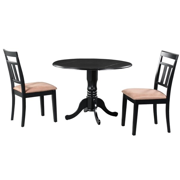 Sickles 3 Piece Drop Leaf Solid Wood Dining Set in Black/Brown by August Grove