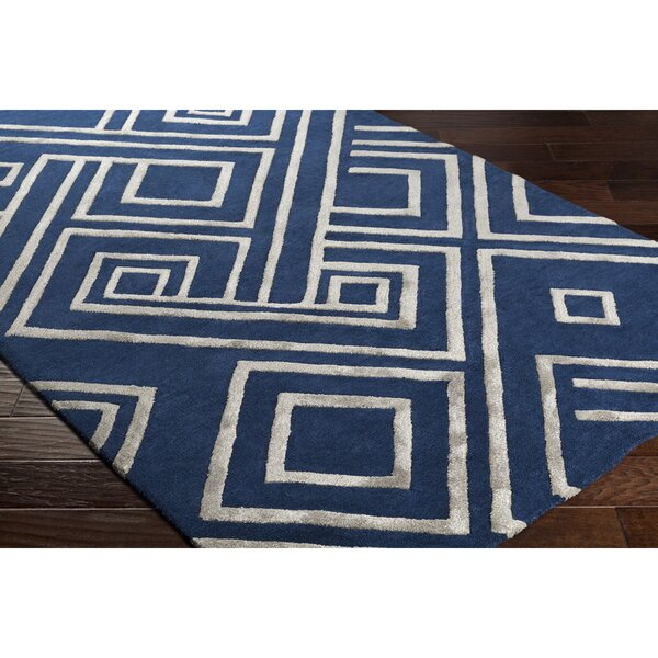 Vazquez Hand-Tufted Blue/Gray Area Rug by Wrought Studio