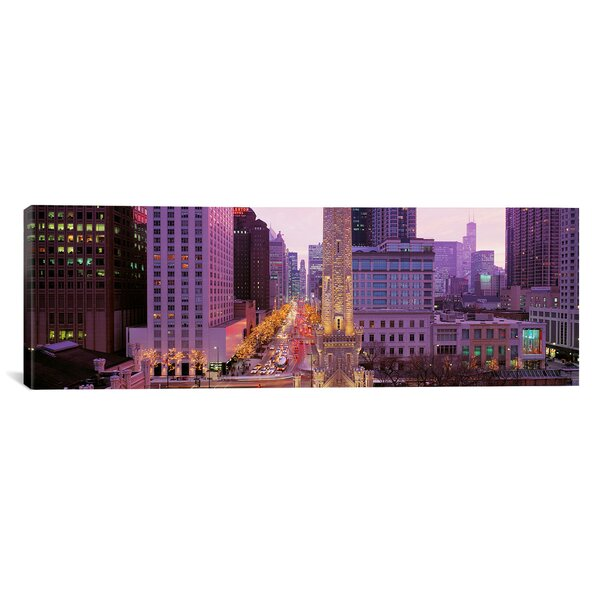Panoramic Twilight, Downtown, City Scene, Loop, Chicago, Illinois Photographic Print on Wrapped Canvas by iCanvas