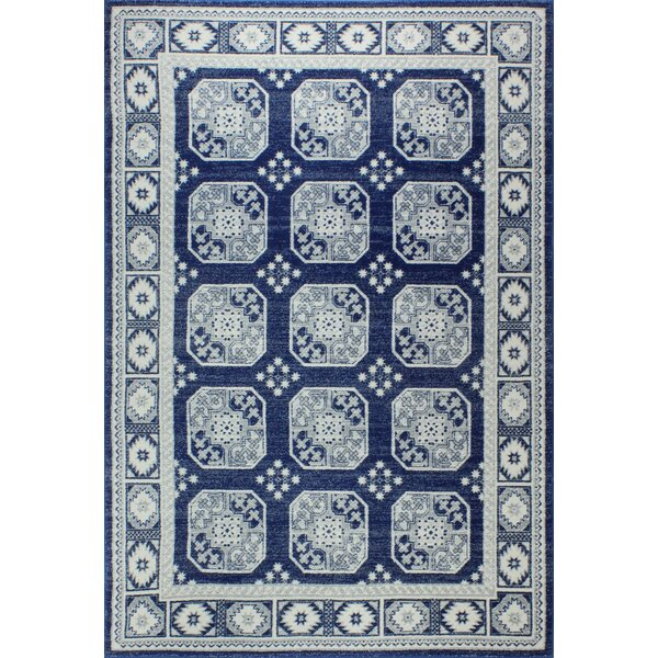 Fiora Dark Blue Area Rug by Bungalow Rose