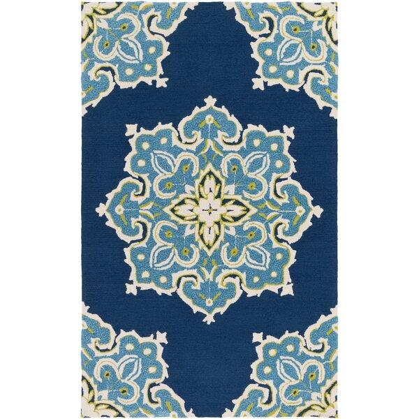Den Helder Hand-Hooked Blue Indoor/Outdoor Area Rug by Bungalow Rose