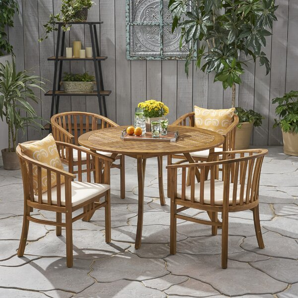 Reichert Outdoor 5 Piece Dining Set With Cushions By Highland Dunes