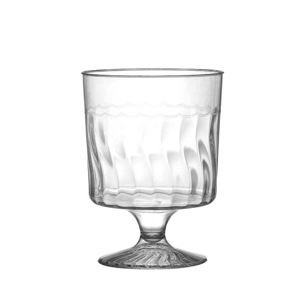 Flairware Rippled Disposable Plastic 5.5 oz. Wine Glass (240/Case) by Fineline Settings, Inc