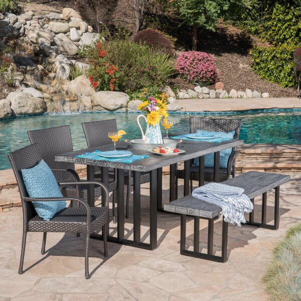 Yowell Outdoor 6 Piece Dining Set by Rosecliff Heights