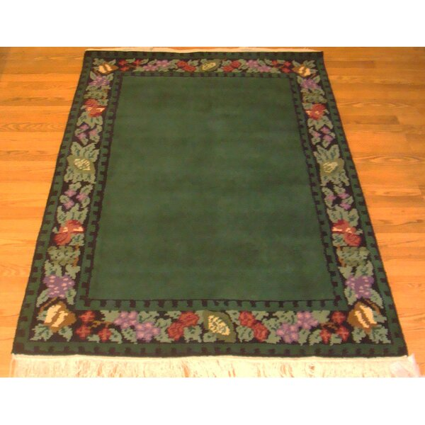 Madison Border Hand-Knotted Wool Emerald Green Area Rug