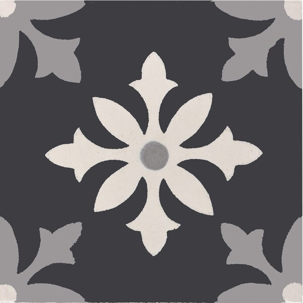 Azrou 8 x 8 Handmade Cement  Tile in Gray/Black by Moroccan Mosaic