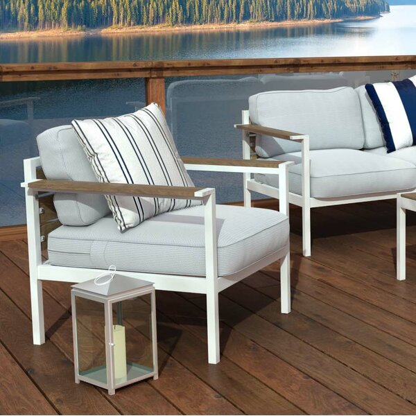 Outdoor Steel and Wood Framed Patio Chair with Cushions (Set of 2) by Zinus