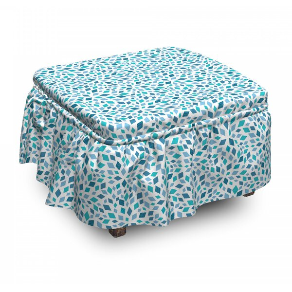 Abstract Mosaic Tones 2 Piece Box Cushion Ottoman Slipcover Set By East Urban Home