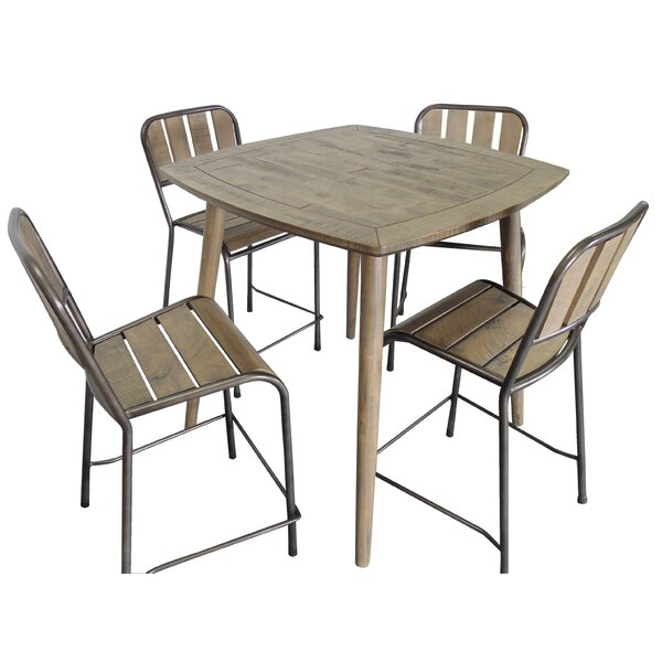 Fritsch 5 Piece Counter Height Solid Wood Dining Set by Gracie Oaks