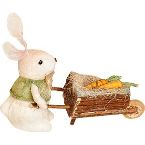 Rabbit Pushing Cart Figurine