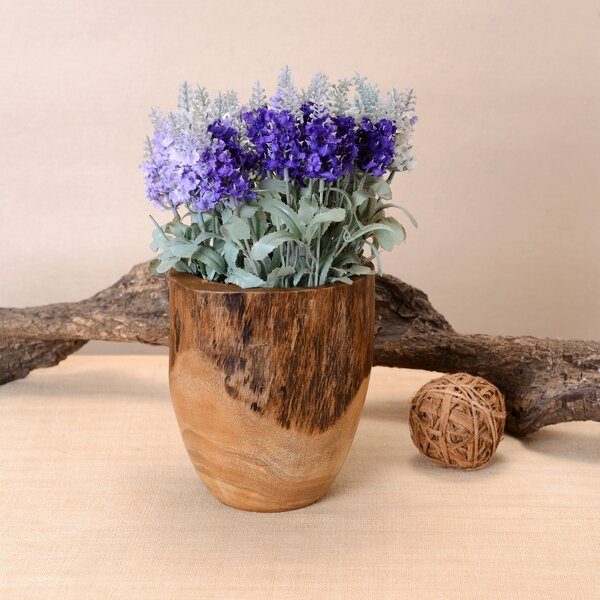 Jopling Hand Carved Natural Utensil Mango Wood Table Vase by World Menagerie