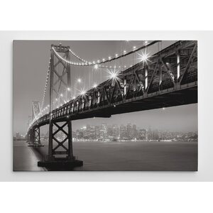 Bay Bridge at Night by Aaron Reed Photographic Print on Wrapped Canvas by Wexford Home