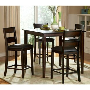 Biggs 5 Piece Counter Height Solid Wood Dining Set (Set of 5) by Alcott Hill