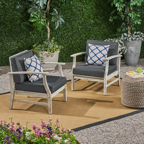 Brickhouse Outdoor Patio Chair with Cushions (Set of 2) by Foundry Select